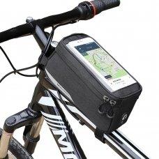 Wozinsky Bike Front Storage Bag Bicycle Frame Phone Case 6,5 Inch Max 1L Black (Wbb6Bk)