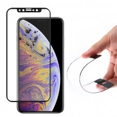 "LANKSTUS APSAUGINIS STIKLAS ""FLEXI NANO GLASS HYBRID "" IPHONE XR / IPHONE 11 JUODAS LK44  USC061"