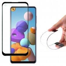 Wozinsky Flexi Nano Glass Pilnai Ekraną Dengiantis Hibridinis Grūdintas Stiklas Samsung Galaxy A21S Juodais Kraštais