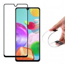 Wozinsky Full Cover Flexi Nano Glass pilnai dengiantis, hibridinis apsauginis stiklas Samsung Galaxy A41 juodais kraštais UCS026