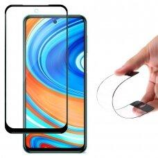 Wozinsky Flexi Nano Pilnai Dengiantis, Hibridinis Stiklas Xiaomi Redmi Note 9 Pro / Redmi Note 9S Juodais Kraštais