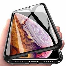 """Magnetinis Metalinis Dėklas Visam Telefonui + Apsauginis Stiklas  """"Wozinsky Magnetic Full Body"""" Xiaomi Redmi Note 8 Pro Juodas-Permatomas 6"""