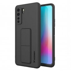 Wozinsky Kickstand Lankstaus Silikono Dėklas Su Stovu Huawei P40 Lite Juodas