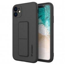 Wozinsky Kickstand Lankstaus Silikono Dėklas Su Stovu iPhone 11 Juodas
