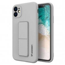 Wozinsky Kickstand Lankstaus Silikono Dėklas Su Stovu iPhone 11 Pro Pilkas