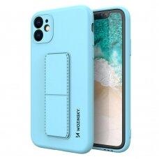 Wozinsky Kickstand Lankstaus Silikono Dėklas Su Stovu iPhone 11 Pro Šviesiai Mėlynas