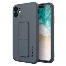 Wozinsky Kickstand Lankstaus Silikono Dėklas Su Stovu iPhone 11 Pro Max Tamsiai Mėlynas