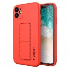 Wozinsky Kickstand Lankstaus Silikono Dėklas Su Stovu iPhone 11 Pro Max Raudonas