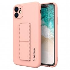 Wozinsky Kickstand Lankstaus Silikono Dėklas Su Stovu iPhone 11 Pro Rožinis