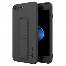 Wozinsky Kickstand Lankstaus Silikono Dėklas Su Stovu iPhone 8 Plus / iPhone 7 Plus Juodas