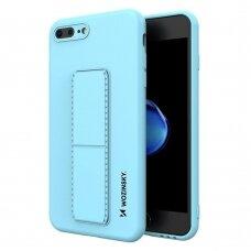 Wozinsky Kickstand Lankstaus Silikono Dėklas Su Stovu iPhone 8 Plus / iPhone 7 Plus Šviesiai Mėlynas