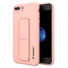 Wozinsky Kickstand Lankstaus Silikono Dėklas Su Stovu iPhone 8 Plus / iPhone 7 Plus Rožinis