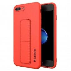 Wozinsky Kickstand Lankstaus Silikono Dėklas Su Stovu iPhone 8 Plus / iPhone 7 Plus Raudonas