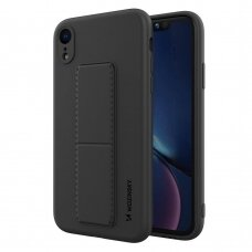 Wozinsky Kickstand Lankstaus Silikono Dėklas Su Stovu iPhone XR Juodas