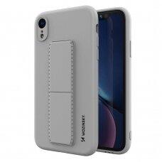 Wozinsky Kickstand Lankstaus Silikono Dėklas Su Stovu iPhone XR Pilkas