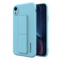 Wozinsky Kickstand Lankstaus Silikono Dėklas Su Stovu iPhone XR Šviesiai Mėlynas
