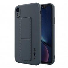Wozinsky Kickstand Lankstaus Silikono Dėklas Su Stovu iPhone XR Tamsiai Mėlynas