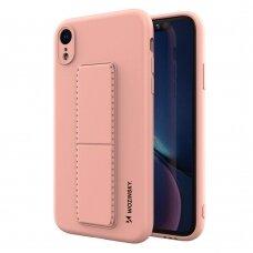 Wozinsky Kickstand Lankstaus Silikono Dėklas Su Stovu iPhone XR Rožinis