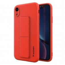 Wozinsky Kickstand Lankstaus Silikono Dėklas Su Stovu iPhone XR Raudonas