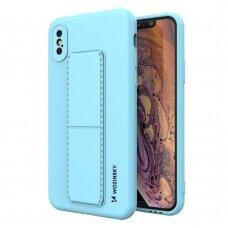 Wozinsky Kickstand Lankstaus Silikono Dėklas Su Stovu iPhone XS / iPhone X Šviesiai Mėlynas