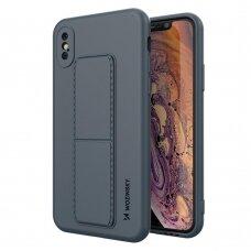 Wozinsky Kickstand Lankstaus Silikono Dėklas Su Stovu iPhone XS / iPhone X Tamsiai Mėlynas