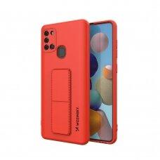 Wozinsky Kickstand Lankstaus Silikono Dėklas Su Stovu Samsung Galaxy A21S Raudonas