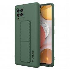 Wozinsky Kickstand Lankstaus Silikono Dėklas Su Stovu Samsung Galaxy A42 5G Tamsiai Žalias