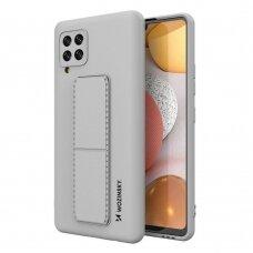 Wozinsky Kickstand Lankstaus Silikono Dėklas Su Stovu Samsung Galaxy A42 5G Pilkas