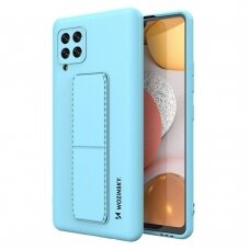 Wozinsky Kickstand Lankstaus Silikono Dėklas Su Stovu Samsung Galaxy A42 5G Šviesiai Mėlynas