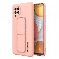 Wozinsky Kickstand Lankstaus Silikono Dėklas Su Stovu Samsung Galaxy A42 5G Rožinis