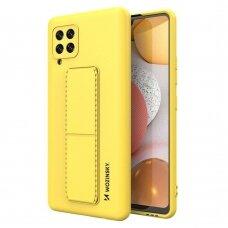 Wozinsky Kickstand Lankstaus Silikono Dėklas Su Stovu Samsung Galaxy A42 5G Geltonas