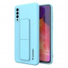 Wozinsky Kickstand Lankstaus Silikono Dėklas Su Stovu Samsung Galaxy A50 / Galaxy A30s Šviesiai Mėlynas