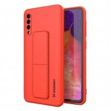 Wozinsky Kickstand Lankstaus Silikono Dėklas Su Stovu Samsung Galaxy A50 / Galaxy A30s Raudonas