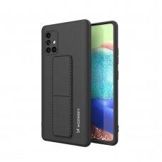 Wozinsky Kickstand Lankstaus Silikono Dėklas Su Stovu Samsung Galaxy A71 Juodas