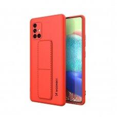 Wozinsky Kickstand Lankstaus Silikono Dėklas Su Stovu Samsung Galaxy A71 Raudonas