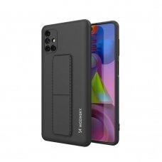 Wozinsky Kickstand Lankstaus Silikono Dėklas Su Stovu Samsung Galaxy M51 Juodas