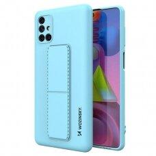 Wozinsky Kickstand Lankstaus Silikono Dėklas Su Stovu Samsung Galaxy M51 Mėlynas
