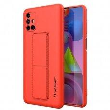 Wozinsky Kickstand Lankstaus Silikono Dėklas Su Stovu Samsung Galaxy M51 Raudonas