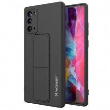 Wozinsky Kickstand Lankstaus Silikono Dėklas Su Stovu Samsung Galaxy Note 20 Juodas