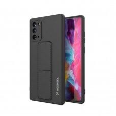 Wozinsky Kickstand Lankstaus Silikono Dėklas Su Stovu Samsung Galaxy Note 20 Ultra Juodas