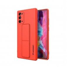 Wozinsky Kickstand Lankstaus Silikono Dėklas Su Stovu Samsung Galaxy Note 20 Ultra Raudonas
