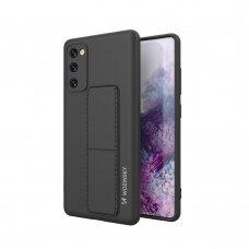 Wozinsky Kickstand Lankstaus Silikono Dėklas Su Stovu Samsung Galaxy S20 FE 5G Juodas