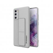 Wozinsky Kickstand Lankstaus Silikono Dėklas Su Stovu Samsung Galaxy S20 FE 5G Pilkas