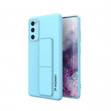 Wozinsky Kickstand Lankstaus Silikono Dėklas Su Stovu Samsung Galaxy S20 FE 5G Šviesiai Mėlynas