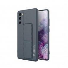 Wozinsky Kickstand Lankstaus Silikono Dėklas Su Stovu Samsung Galaxy S20 FE 5G Tamsiai Mėlynas