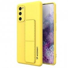 Wozinsky Kickstand Lankstaus Silikono Dėklas Su Stovu Samsung Galaxy S20 FE 5G Geltonas