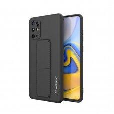 Wozinsky Kickstand Lankstaus Silikono Dėklas Su Stovu Samsung Galaxy S20+ (S20 Plus) Juodas