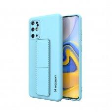 Wozinsky Kickstand Lankstaus Silikono Dėklas Su Stovu Samsung Galaxy S20+ (S20 Plus) Šviesiai Mėlynas