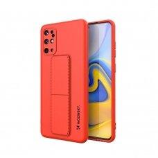 Wozinsky Kickstand Lankstaus Silikono Dėklas Su Stovu Samsung Galaxy S20+ (S20 Plus) Raudonas