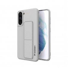 Wozinsky Kickstand Lankstaus Silikono Dėklas Su Stovu Samsung Galaxy S21 5G Pilkas